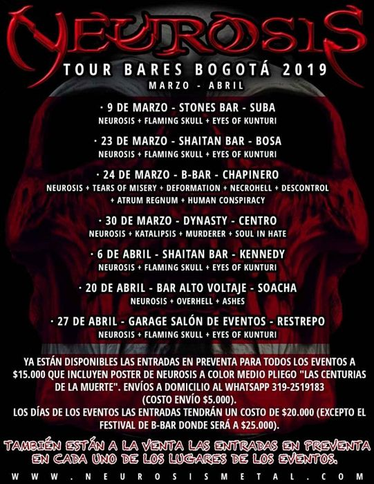 Evento Neurosis Tour|Conciertos, Festivales.