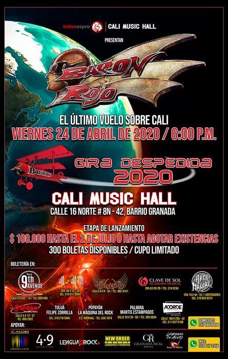 Evento Baron Rojo En Colombia 2020 Gira De Despedida|Conciertos, Festivales.