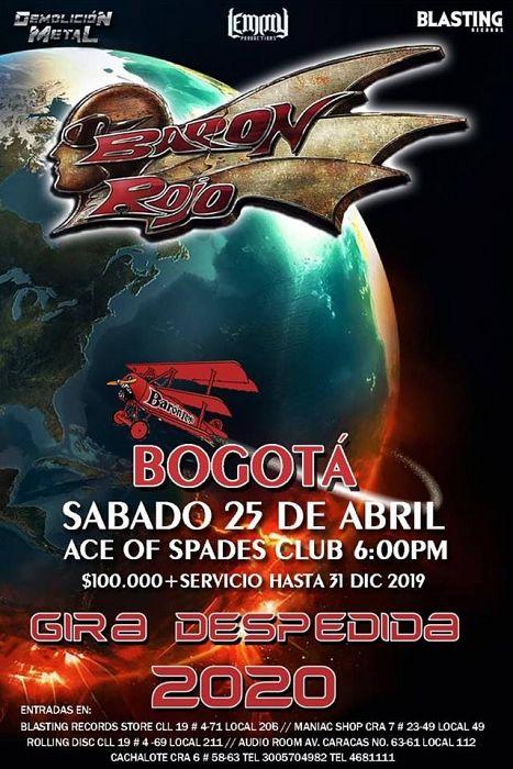 Evento El Baron Rojo Llega A Colombia Gira De Despedida 2020|Conciertos, Festivales.