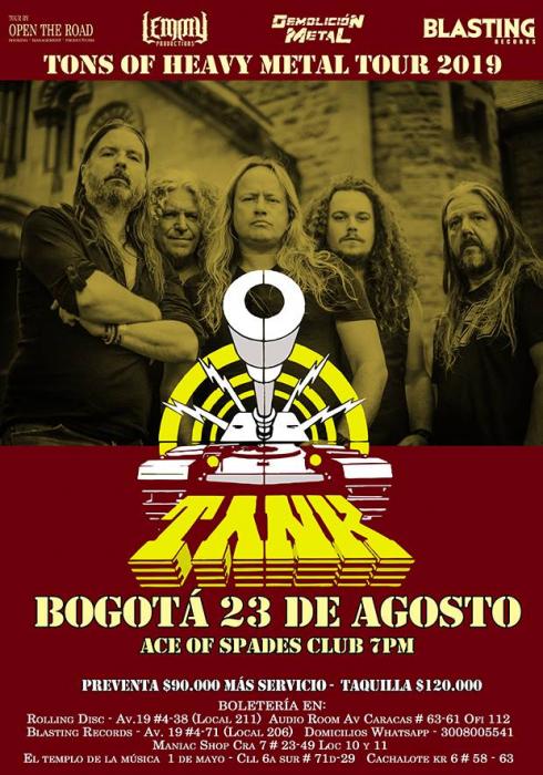 Evento Tank En Colombia Tons Of Heavy Metal Tour 2019 Nwobhm|Conciertos, Festivales.