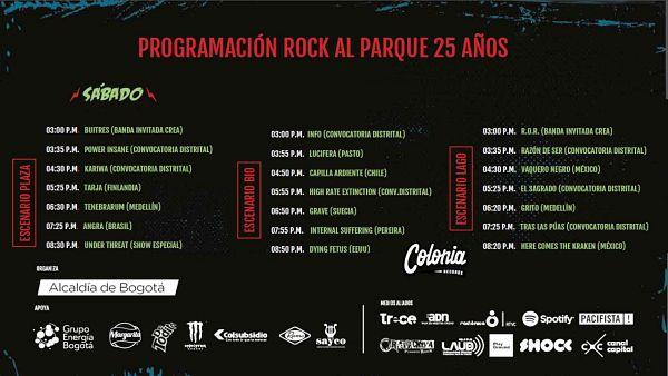 Evento Festival Rock Al Parque Programacion 2019 Cartel Sabado|Conciertos, Festivales.