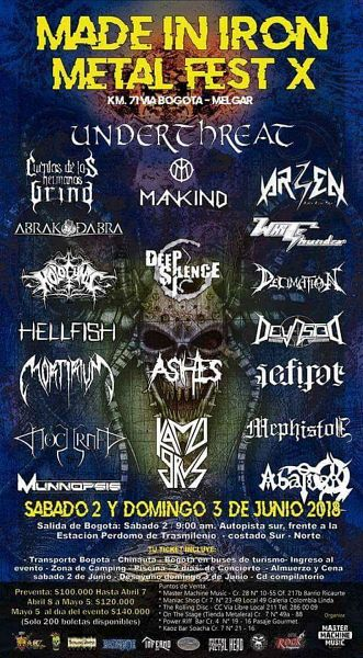 Evento Made In Iron Metal Fest X, Bandas Colombianas