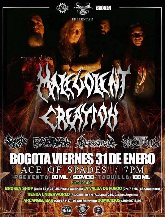 Evento Malevolent Creation En Colombia|Conciertos, Festivales.