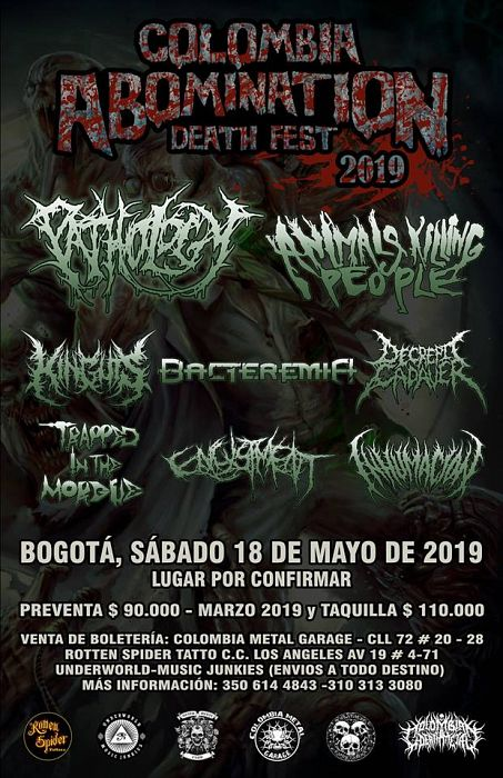 Evento Colombia Abomination Death Fest 2019, Bandas Colombianas