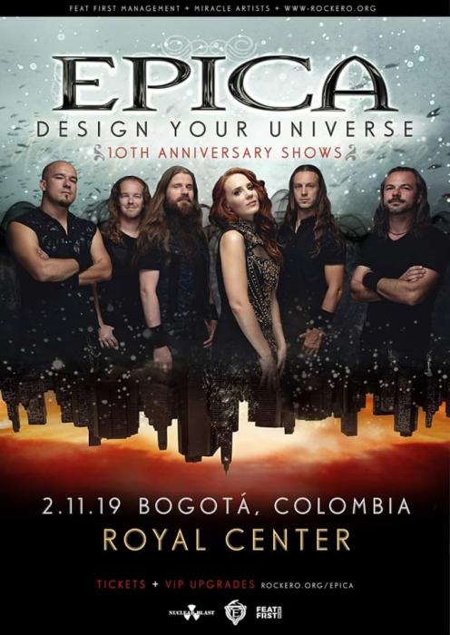 Evento Epica Regresa A Colombia Design Your Universe Aniversario 10 Royal Center Conciertos, Festivales.