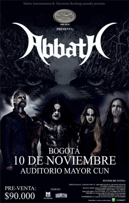 Evento Abbath En Colombia 2019|Conciertos, Festivales.