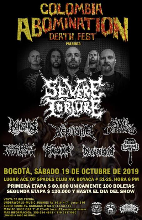 Evento Colombia Abomination Death Fest Presenta Severe Torture|Conciertos, Festivales.