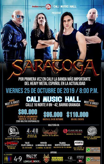 Evento Saratoga Colombia Conciertos Heavy|Conciertos, Festivales.